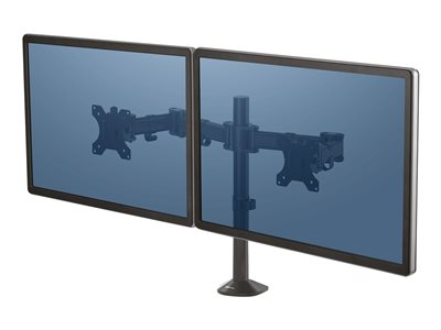 Fellowes Reflex Dual Monitor Arm - Mounting kit for 2 monitors (adjustable arm) - metal - black, RAL 9017 - screen size: up to 27