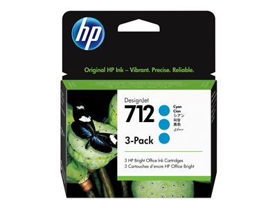 HP 712 - 3-pack - cyan - original - DesignJet - ink cartridge