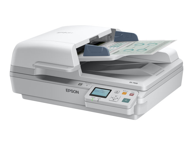 Epson WorkForce DS-6500N - Scanner de documents - Recto-verso - A4 - 1200 ppp x 1200 ppp - jusqu'à 25 ppm (mono) / jusqu'à 25 ppm (couleur) - Chargeur automatique de documents (100 feuilles) - jusqu'à 3000 pages par jour - USB 2.0, Gigabit LAN