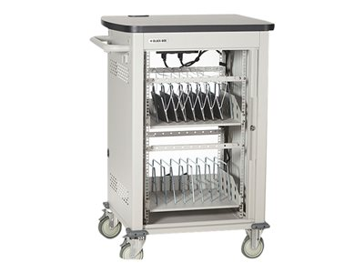 Black Box iPad, Chromebook, Tablet, and Laptop Cart 30-Device, Single Frame with Medium Slots and S