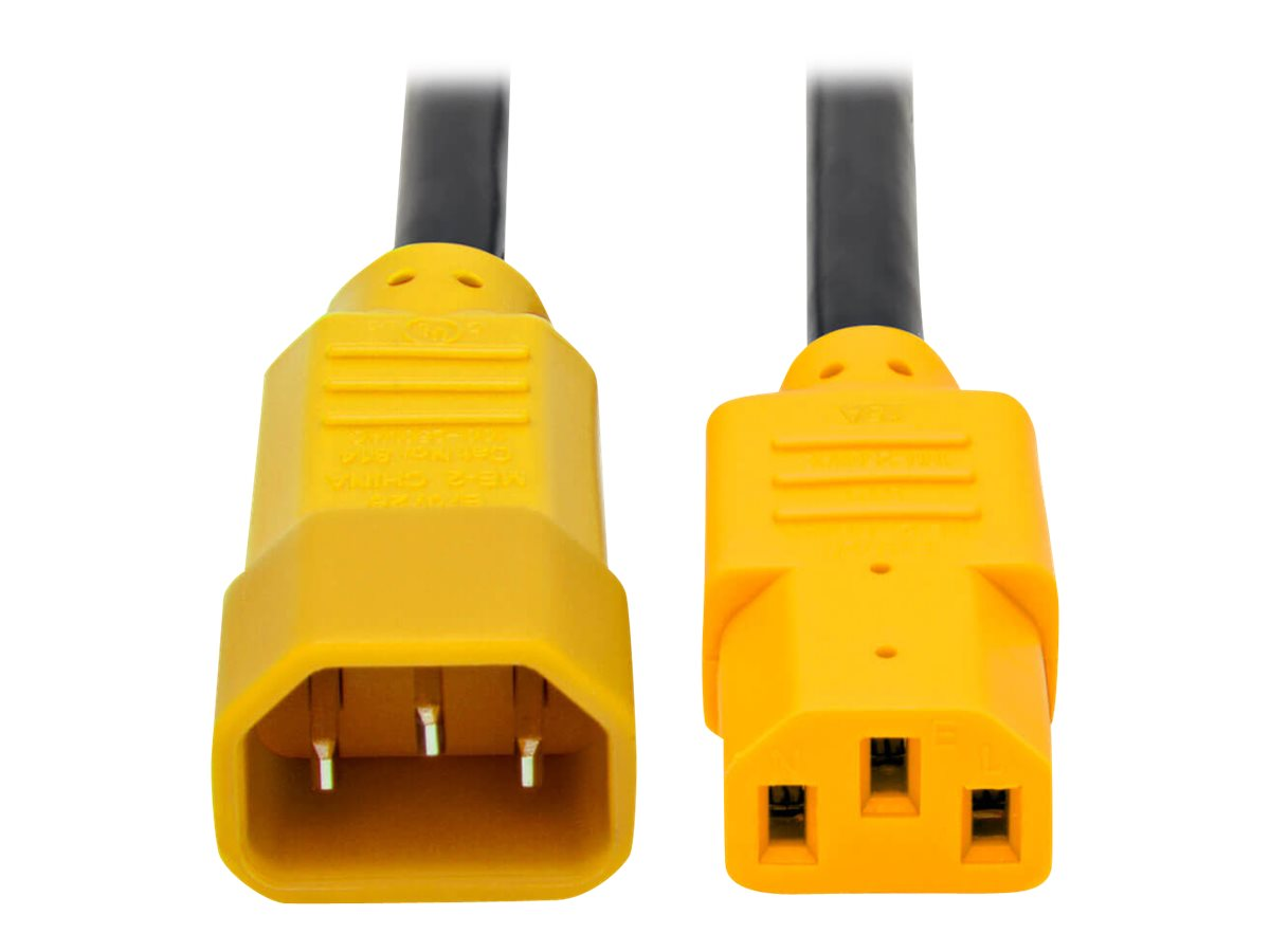 Tripp Lite 6ft Power Cord Extension Cable C14 to C13 Heavy Duty Yellow 15A 14AWG 6' - power cable - 1.8 m