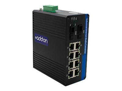 AddOn 1Gbs 8 RJ-45 to 2 FC Industrial Media Converter - fiber media converter - GigE