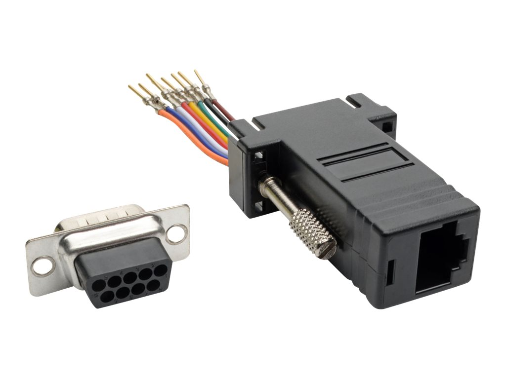 Tripp Lite DB9 to RJ45 Modular Serial Adapter (M/F), RS-232, RS-422, RS-485 - serial adapter - black