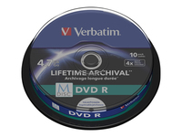 Verbatim M-Disc - 10 x DVD-R - 4.7 GB 4x - ink jet printable surface - spindle