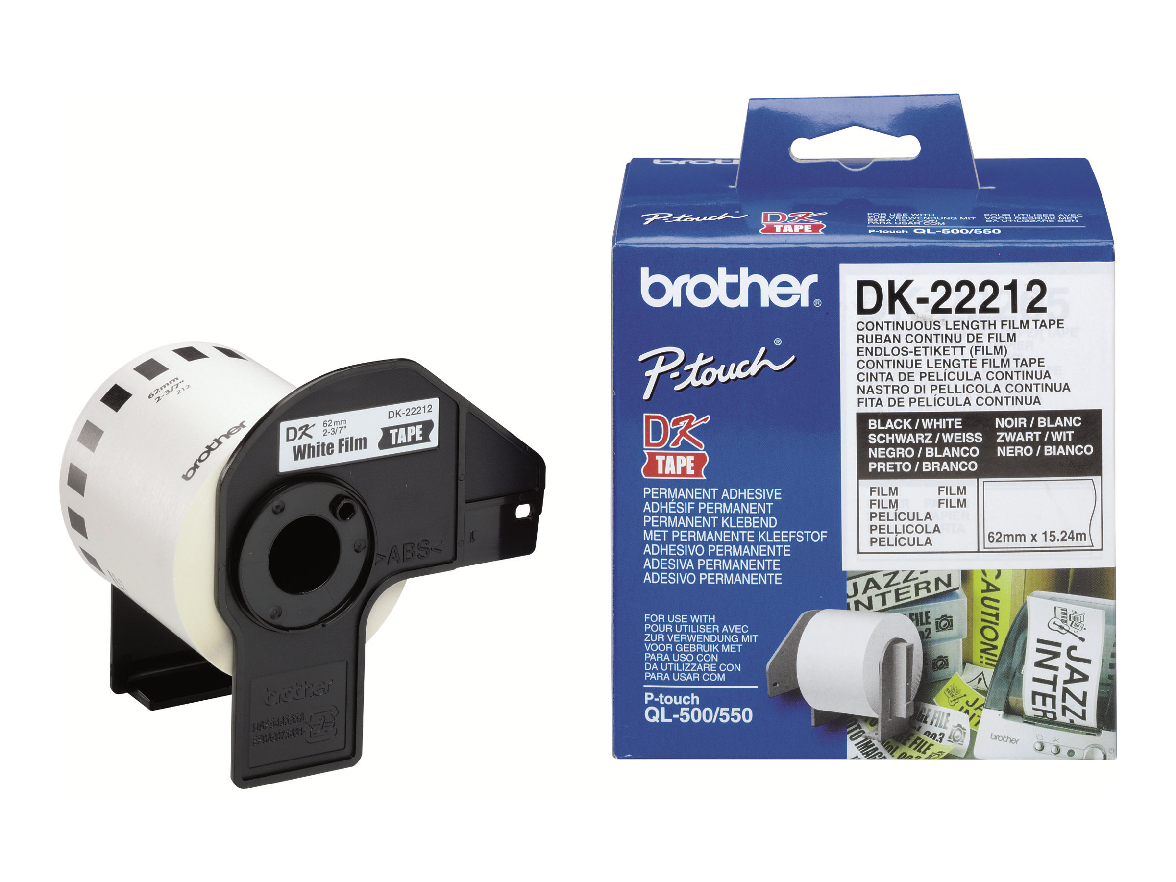Brother DK-22212 - Permanenter Klebstoff - weiß - Rolle (6,2 cm x 15,2 m) Band - für Brother QL-1050, 1060, 500, 550, 560, 570, 580, 650, 700, 710, 720, 820