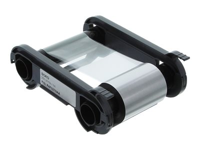 Evolis SOKO Matte silver, black resin with clear overlay print ribbon for
