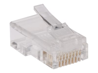 Tripp Lite RJ45 for Flat Solid / Standard Conductor 4-Pair Cat5e Cat5 Cable 100 Pack - network connector