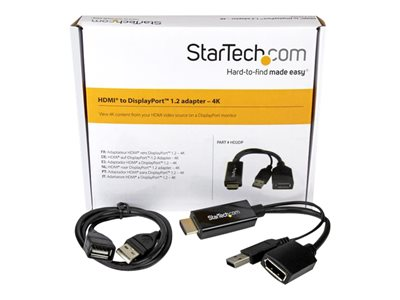 StarTech.com 4K 30Hz HDMI to DisplayPort Video Adapter w/ USB Power - 6 in - HDMI 1.4 (Male) to DP 1.2 (Female) Active Monitor Converter (HD2DP)