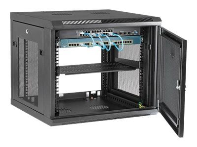 startech com 229u wall mount server rack cabinet 4 post adjustable depth 2 22 22 to 19 22 22 network equipment enclosure with cable management