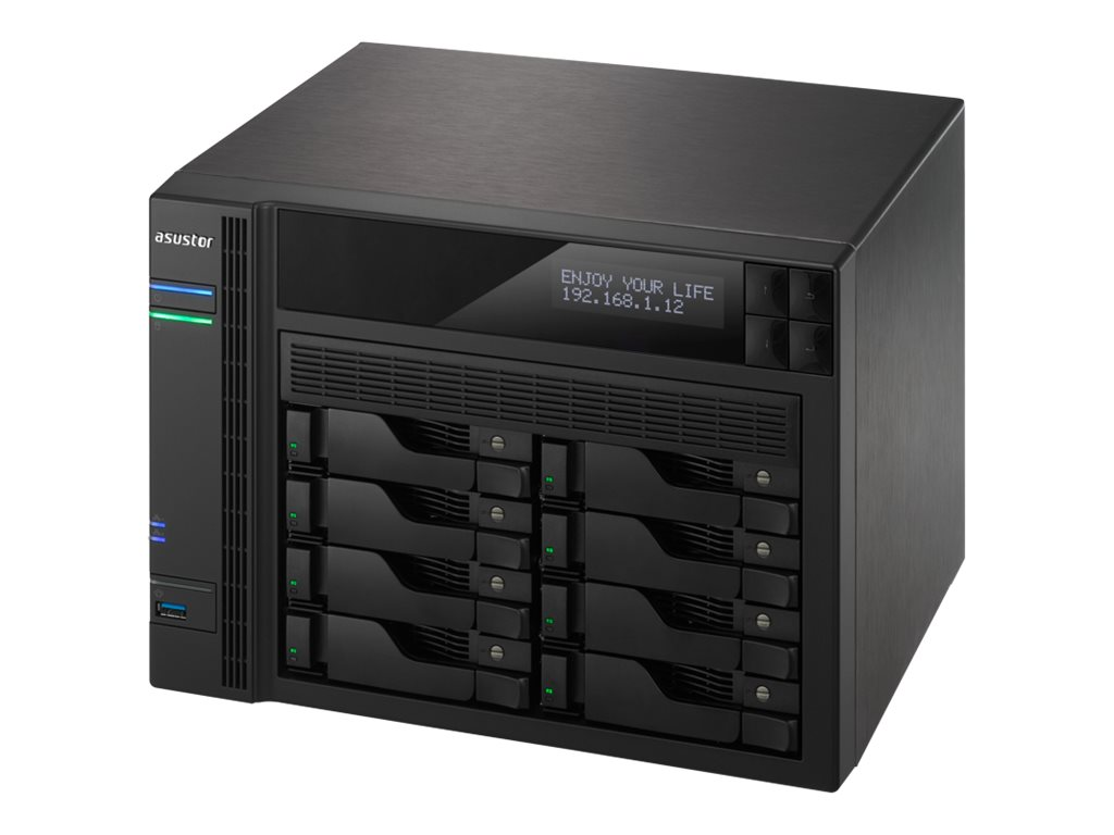 ASUSTOR AS6208T - NAS-Server - 8 Schächte - SATA 6Gb/s / eSATA - RAID 0, 1, 5, 6, 10, JBOD - Gigabit Ethernet