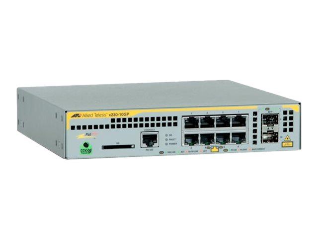 Allied Telesis AT x230-10GP - Switch - L2+ - verwaltet - 8 x 10/100/1000 (PoE+) + 2 x SFP - Desktop, an Rack montierbar, wandmontierbar