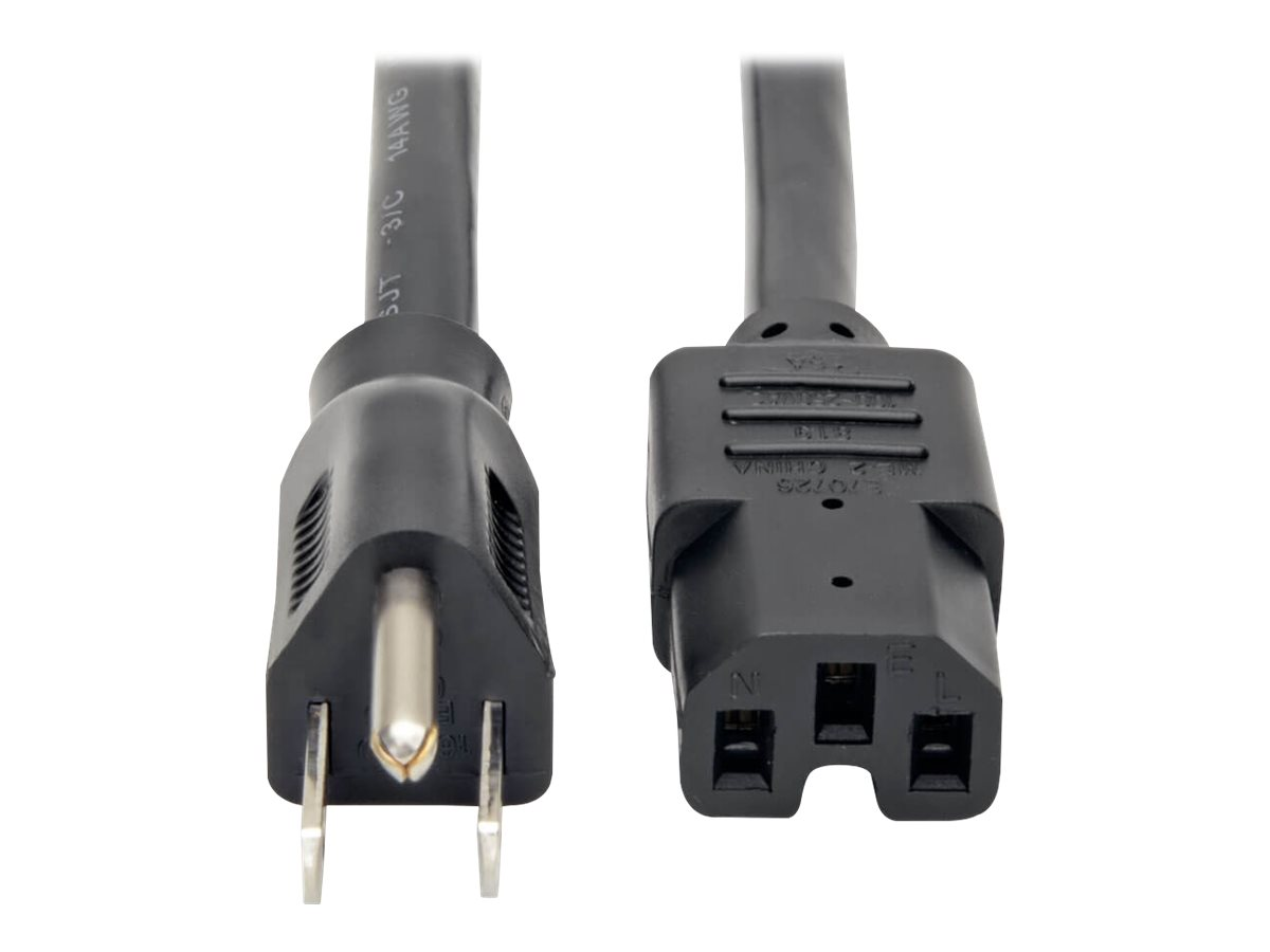 Tripp Lite 4ft Power Cord Cable 5-15P to C15 Heavy Duty 15A 14AWG 4' - power cable - 1.22 m