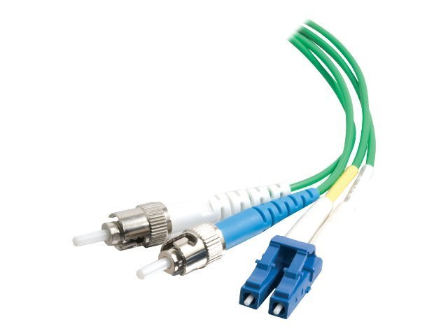 C2G 3m LC-ST 9/125 Duplex Single Mode OS2 Fiber Cable - Plenum CMP-Rated - Green - 10ft - patch cable - 3 m - green