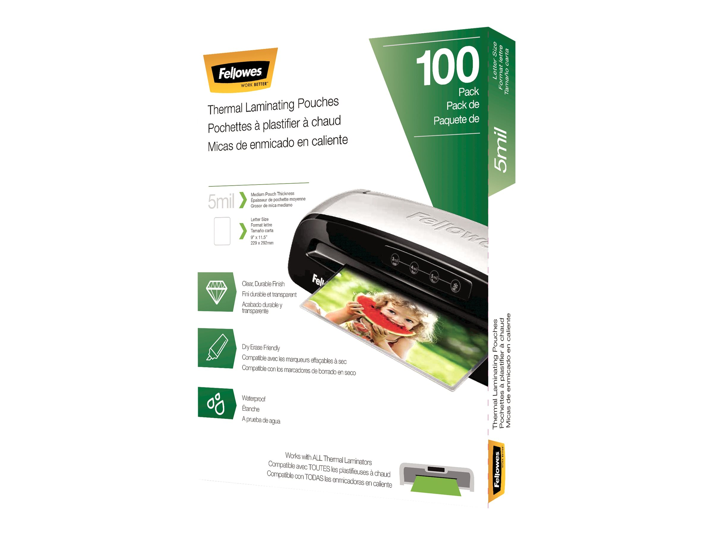 Fellowes - 100-pack - clear - Letter - glossy laminating pouches