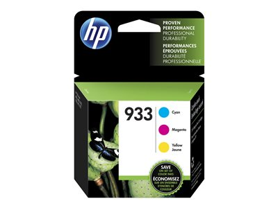 HP 933 3-pack yellow, cyan, magenta original ink cartridge