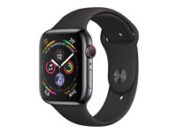 Apple Watch Series 4 (GPS + Cellular) - rymdsvart rostfritt stål - smart klocka med sportband - svart - 16 GB - inte specificerad