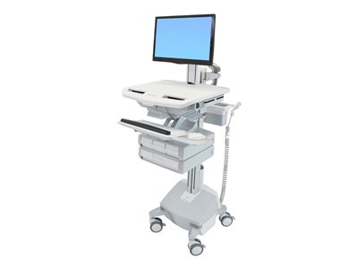 Ergotron StyleView Electric Lift Cart with Pivot, LiFe Powered, 4 Drawers (3x1+1)