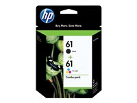 HP 61 Combo Pack 2-pack black, color (cyan, magenta, yellow) original ink cartridge