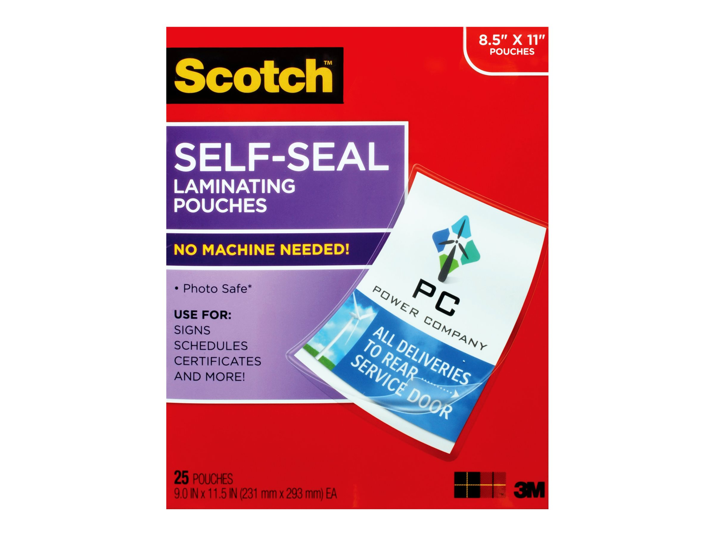 Scotch - 25-pack - self-seal laminating pouches - Letter - lamination pouches