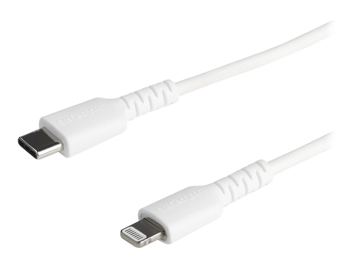 StarTech.com 6 foot/2m Durable White USB-C to Lightning Cable, Rugged Heavy Duty Charging/Sync Cable for Apple iPhone/i…