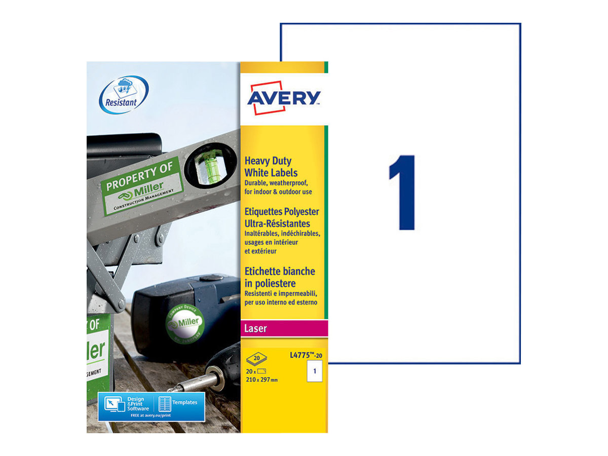 Avery Heavy Duty Laser Labels - Polyester - A4 (210 x 297 mm) 20 Stck. (20 Bogen x 1) Etiketten