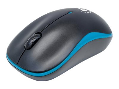 Manhattan Success Wireless Mouse, Black/Blue, 1000dpi, 2.4Ghz (up to 10m), USB, Optical, Three Button with Scroll Wheel, USB micro receiver, AA battery (included), Low friction base, Three Year Warranty, Blister