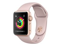 Apple Watch Series 3 (GPS) - 38 mm - or-aluminium - montre intelligente avec bande sport - fluoroélastomère - sable rose - taille de bande 130-200 mm - 8 Go - Wi-Fi, Bluetooth - 26.7 g