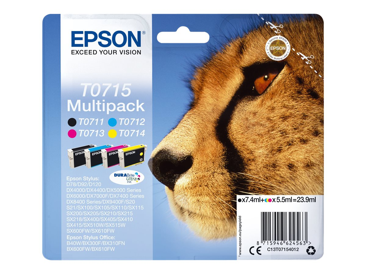 epson t0715 gu pard pack de 4 noire cyan magenta jaune original cartouche d 39 encre epson. Black Bedroom Furniture Sets. Home Design Ideas