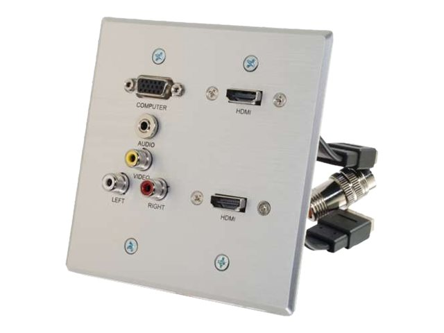 C2G RapidRun VGA, Stereo Audio, Composite Video and RCA Stereo Audio Double Gang Wall Plate with Dual HDMI Pass Through…