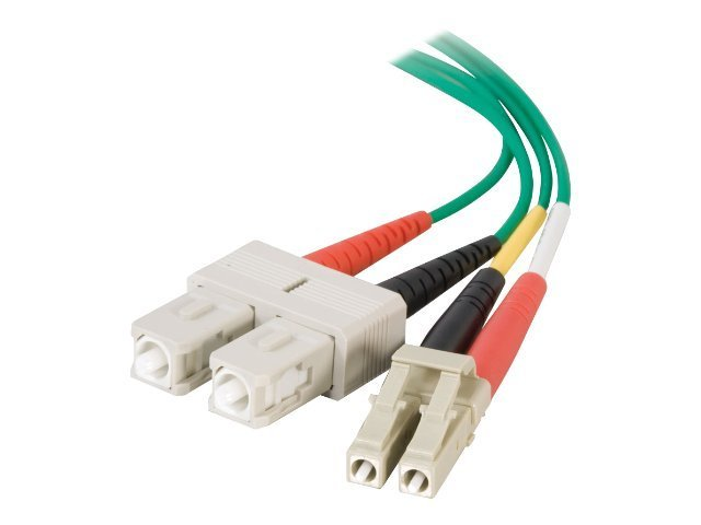 C2G LC-SC 62.5/125 OM1 Duplex Multimode Fiber Optic Cable (Plenum-Rated) - patch cable - 10 m - green