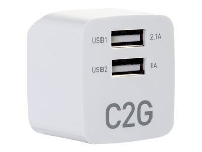 C2G 2-Port USB Wall Charger - AC to USB Adapter - 5V 2.1A Output