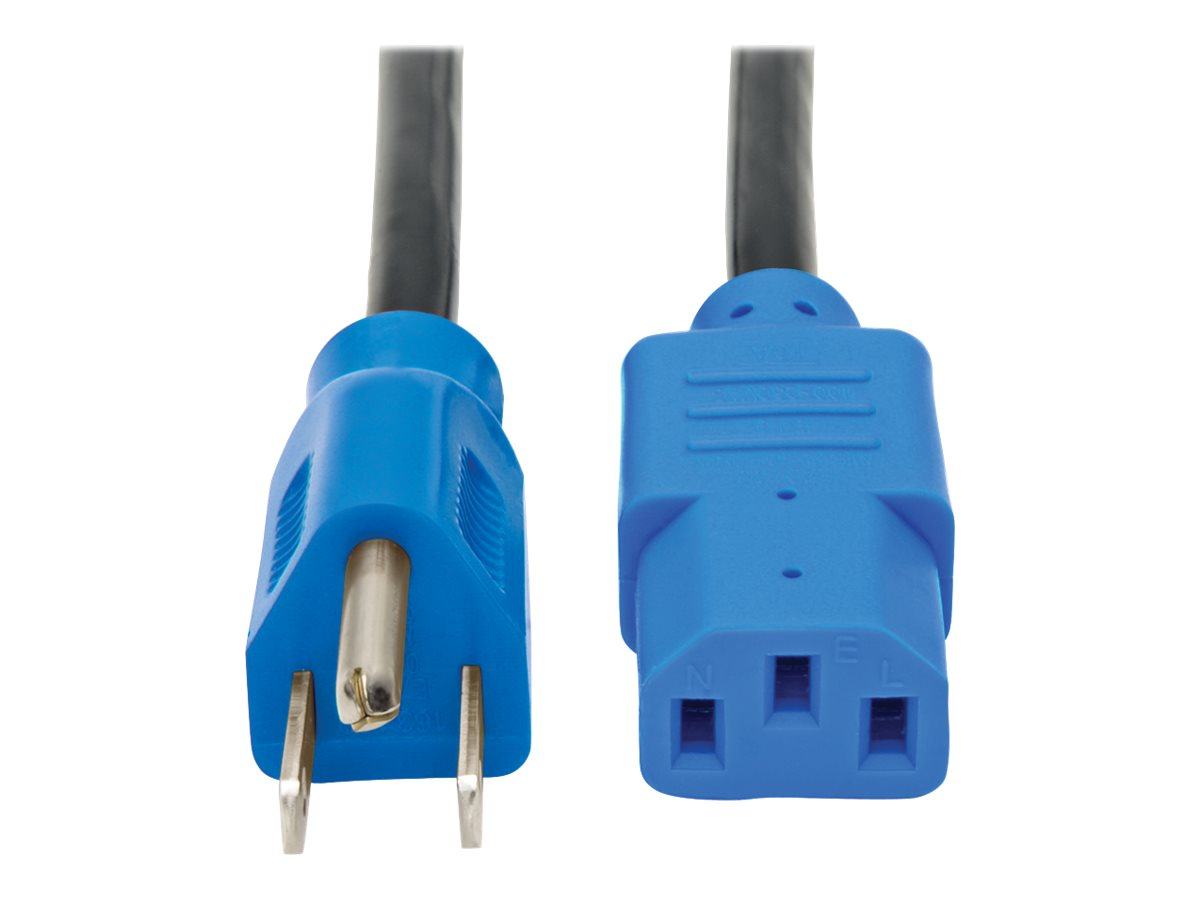 Tripp Lite 4ft Computer Power Cord Cable 5-15P to C13 Blue 10A 18AWG 4' - power cable - 1.2 m