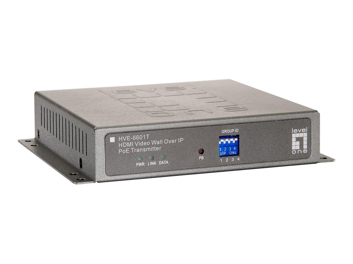 LevelOne HVE-6601T HDMI Video Wall Over IP PoE Transmitter - Video Extender - Fast Ethernet, Gigabit Ethernet - 100Base-TX, 1000Base-T - für LevelOne GEP-2450