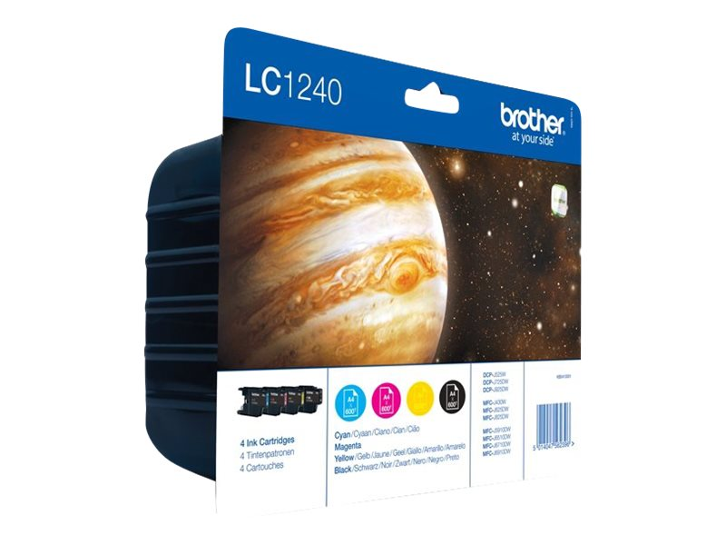 Brother LC1240 Value Pack - 4-pack - black, yellow, cyan, magenta - original - ink cartridge