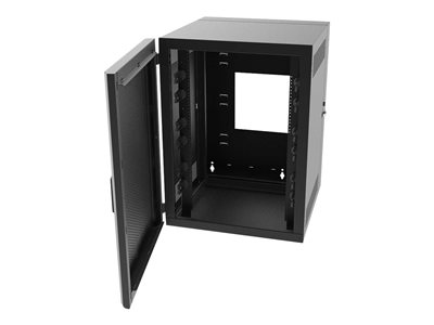 Legrand 18RU Swing-Out Wall-Mount Cabinet with Perforated Door-Black-TAA Cabinet
