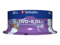 Verbatim - 25 x DVD+R DL - 8.5 GB 8x - wide printable surface - spindle