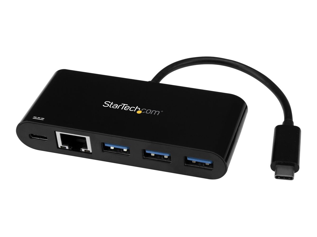 StarTech.com 3 Port USB-C Hub with Gigabit Ethernet & 60W Power Delivery Passthrough Laptop Charging, USB-C to 3x USB-A…