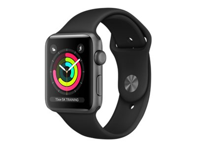 Apple Watch Series 3 (GPS) - space gray aluminum - smartklokke med sportsbånd - svart - 8 GB