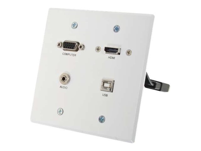 C2G RapidRun VGA + 3.5mm Double Gang Wall Plate + HDMI and USB Pass Through - wall plate - HDMI / VGA / audio / USB