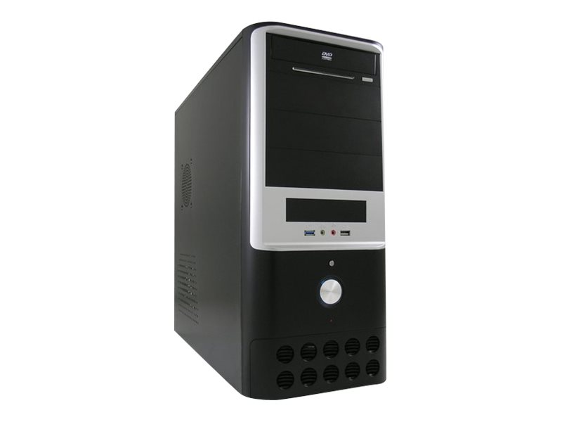 LC Power Classic 7005B - Midi Tower - ATX 350 Watt (ATX12V 2.31) - Schwarz, Silber - USB/Audio