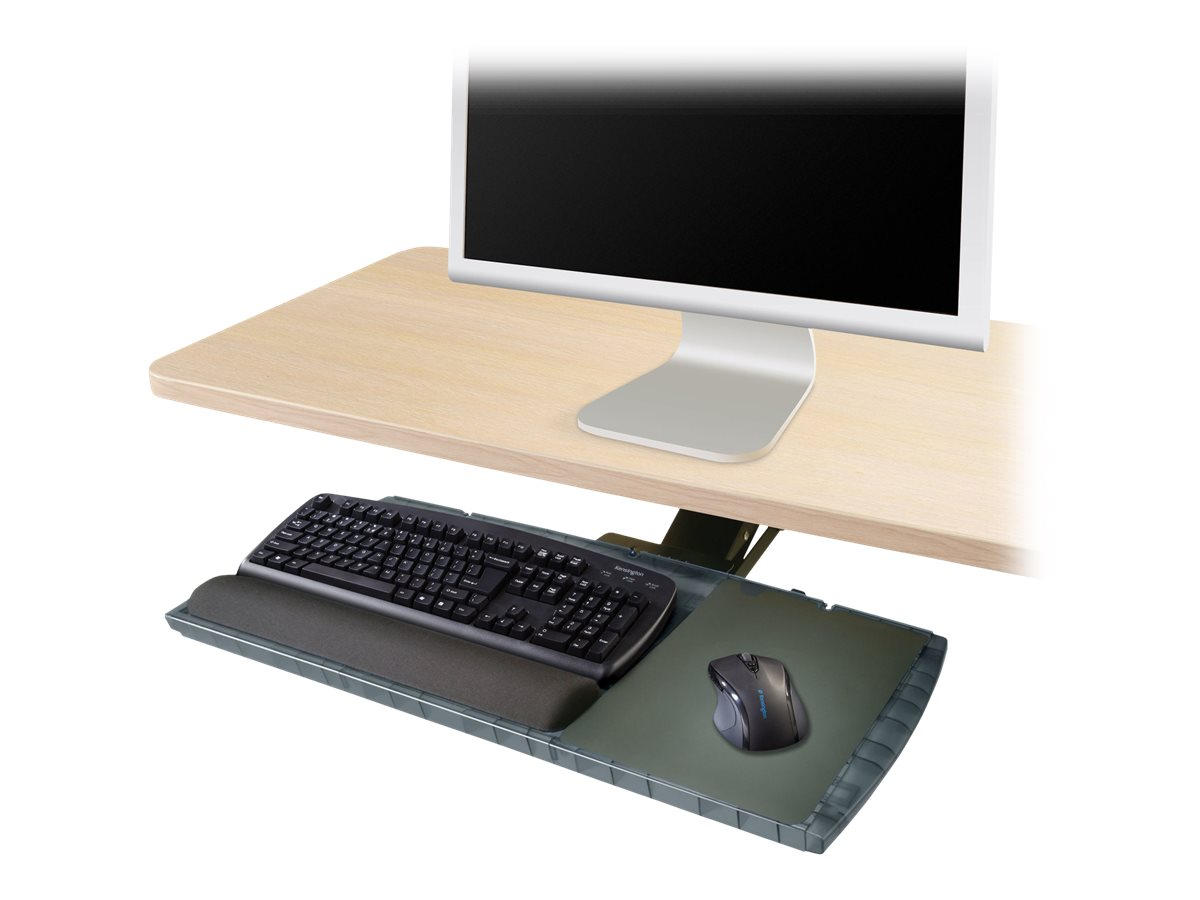 Kensington Underdesk Adjustable Keyboard Platform - keyboard and mouse platform with wrist pillow