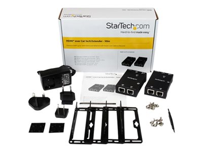 StarTech.com HDMI Over CAT5/CAT6 Extender with Power Over Cable - 165 ft (50m) HDMI Video/Audio Over Dual Ethernet Cable Extender (ST121SHD50)
