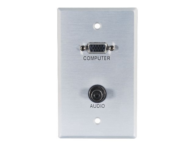 C2G VGA and 3.5mm Audio Pass Through Single Gang Wall Plate - Brushed Aluminum - mounting plate