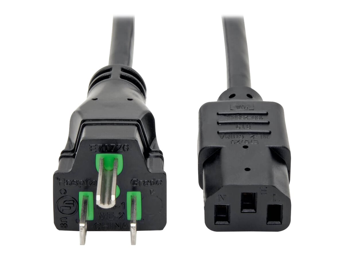 Tripp Lite 10ft Computer Power Cord Hospital Medical Cable 5-15P to C13 10A 18AWG 10' - power cable - 3.05 m