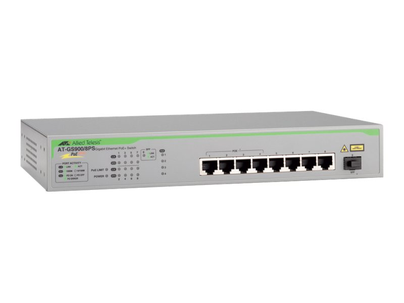 Allied Telesis AT GS900/8PS - Switch - nicht verwaltet - 8 x 10/100/1000 + 1 x SFP - Desktop, an Rack montierbar - PoE