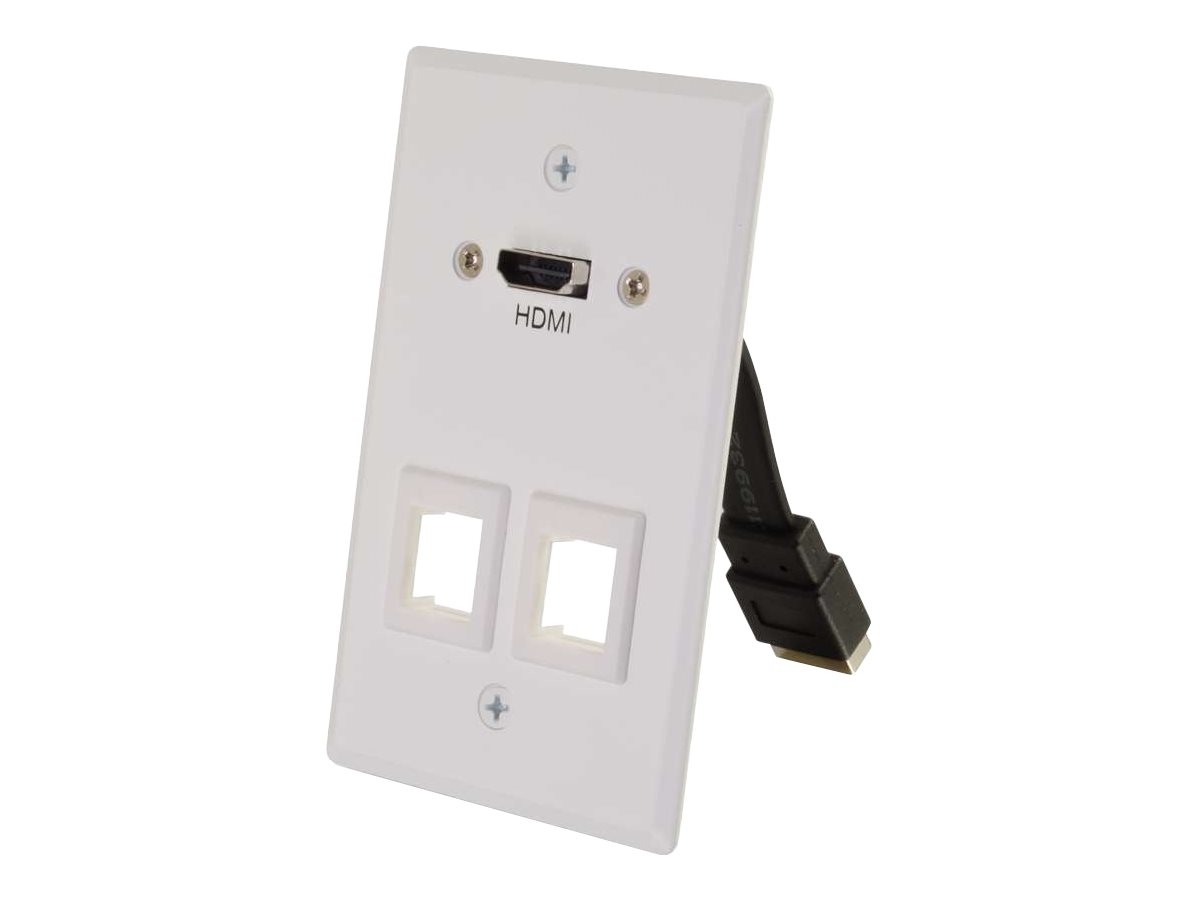 C2G HDMI Pass Through Single Gang Wall Plate with Two Keystones - White - mounting plate