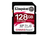 Kingston Canvas React - Carte mémoire flash - 128 Go - A1 / Video Class V30 / UHS-I U3 / Class10 - SDXC UHS-I