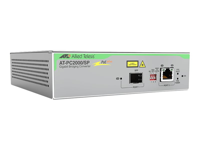 Allied Telesis AT-PC2000/SP - Medienkonverter - Gigabit Ethernet - 10Base-T, 100Base-TX, 1000Base-T, 1000Base-X, 100Base-X - SFP
