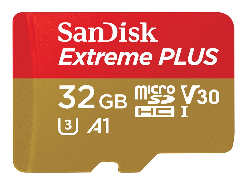 SanDisk Extreme PLUS - Flash-Speicherkarte (microSDHC/SD-Adapter inbegriffen) - 32 GB - A1 / Video Class V30 / UHS-I U3 - microSDHC UHS-I