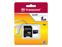Transcend - Flash memory card (SD adapter included) - 1 GB - microSD